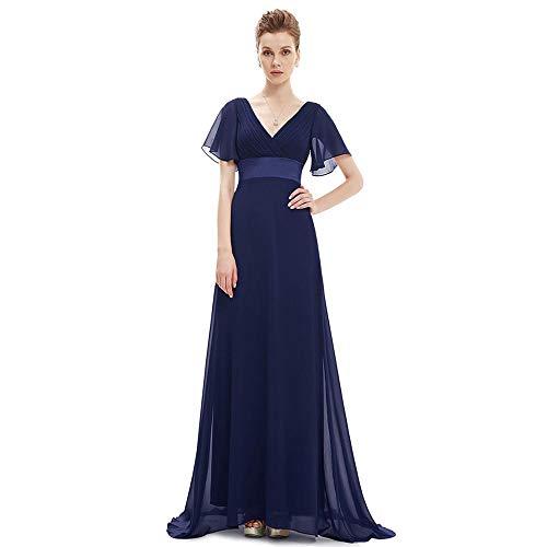 Miminuo Ballkleid,Sexy Frauen Abendkleider v-Ausschnitt ärmellose rückenfreie a-Linie schlank Chiffon Lange Marineblau Abend formelle Party Dress-EIN_8