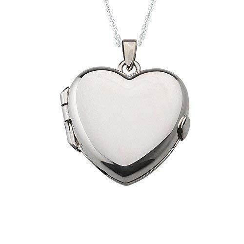 Alylosilver Collar Colgante Guardapelo de Plata De Ley para Mujer de Corazón - Incluye una Cadena de Plata de 45 Centimetros y un Estuche para Regalo