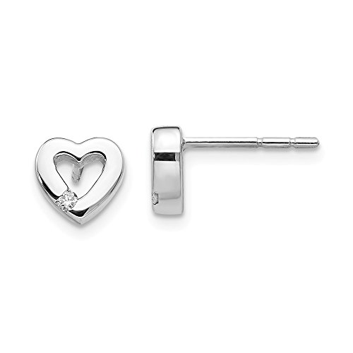 925 Sterling Silver .04ct Diamond Heart Post Stud Earrings Love Fine Jewelry For Women Gifts For Her (0.04 Ct Diamond Fashion)