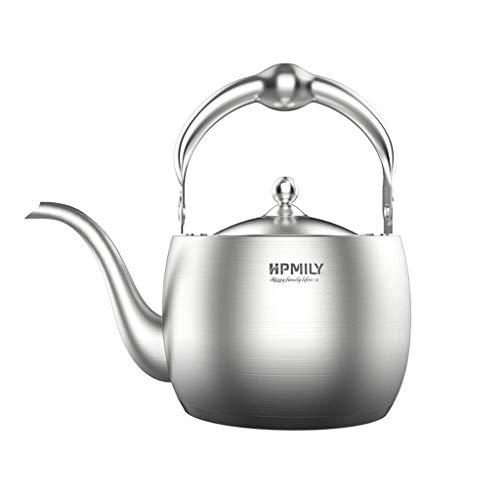 Bouilloire à thé Stovetop Whistling Théière avec filtre, 304 en acier inoxydable brossé Teapot 1.5L Convient à différentes Stovetop