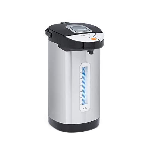 Klarstein Hot Spring Heißwasserspender, Edelstahl-Wassertank: 4,2 Liter, Touch-Bedienfeld, Warmhalte-Temperatur: 75-90 °C, Trockengeh- & Überhitzungsschutz, silber