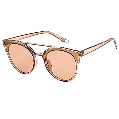 WQZYY&ASDCD Gafas de Sol Gafas De Sol Transparentes con Lente De Plástico para Hombre, Moda Clásica, Retro, Uv400, Espejo, Gafas De Sol para Mujer, Ojo De Gato, Marrón
