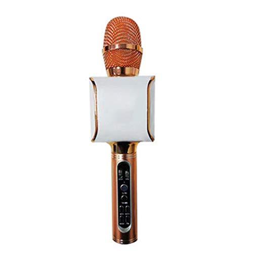 Hancoc Inalámbrica Bluetooth Radio FM A Bordo Micrófono Tecla Mute A Un Teléfono Móvil Micrófono K Canción A Dúo (Color : Gold)