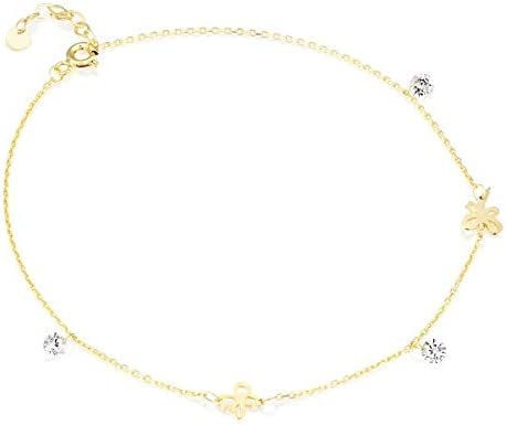 Solid 14k White Gold Anklet with Zircon and Butterfly - Natural White Gemstone Anklet - Fine Jewelry - December Birthstone - Adjustable Anklet (1.4 g, 8.7 in + 2 cm)