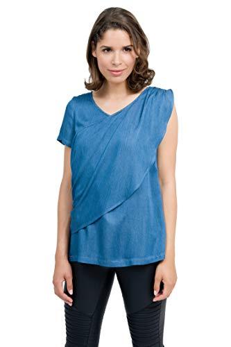 Mania Still-Bluse Wave, lässiges Stilloberteil, diskretes Stillen unterwegs, dezenter Brustzugriff, Denim, Größe: S - XL (L) … (M)