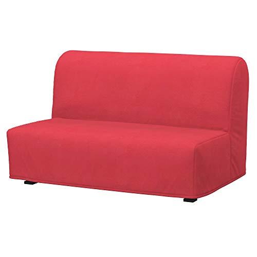 Soferia - Funda para sofá cama de Ikea LYCKSELE 2, tela ecológica de piel sintética, color naranja oscuro
