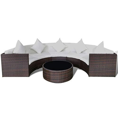 FZYHFA Set canapé Demi-Rond de Jardin 17 pièces polyrotin Marron Design Simple et Pratique, Stable et Durable Ensemble canapé d'extérieur canapé de Jardin