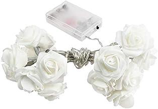 Led-lichtsnoer, rozen, 20 ledlampen, warmwit, werkt op batterijen, romantische kamerdecoratie (wit)