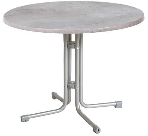 acamp Esstisch Gartentisch Bistrotisch 56684 Piazza 80 cm rund Platin Gestell mit Cemento Grigio Topalit Tischplatte