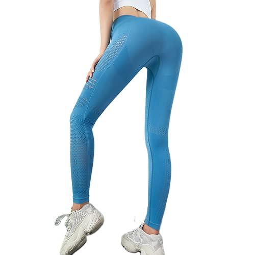 QTJY Pantalones de Yoga Huecos de compresión de Cintura Alta para Mujer, Pantalones de Yoga Transpirables absorbentes de Sudor, Medias sin Costuras BM