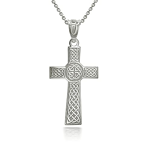 Certified 14k White Gold Personalized Irish Celtic Knot Cross (Large) 1.46' Religious Pendant Necklace with Your Name, 22'