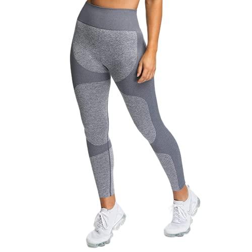 Pantalones de Yoga sin Costuras de energía Femenina sin Costuras, Pantalones de Ejercicio Push-up para Gimnasio, Pantalones de Yoga con Levantamiento de Cadera y Cintura Alta A S