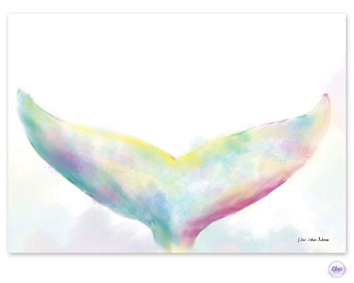 Mermaid Tail Watercolor Painting Poster Print, Magical Boho Wall Art Décor for Nursery, Playroom & Kids Bedroom – Colorful Pastel Print, 11' X 17', Handmade Artisan Baby Shower Gift Idea