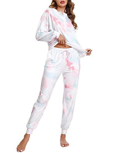 Doaraha Conjunto Pijama para Mujer Camiseta y Pantalones Tie-Dye Estampado Ropa de Dormir con Bolsillos y Puños Elásticos 2 Piezas (B# Azul & Rosa, XL)