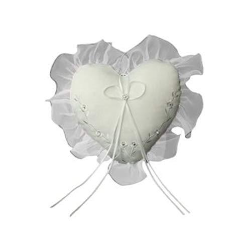 Ringkissen RK8 für Trau-Ringe zur Hochzeit, weiße-s Herz-Kissen Accessoires für Eheringe u. Brautkleid-er