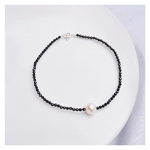 MLKJSYBA Pulsera Mini Pulsera de la Cadena de la Perla de Agua Dulce Natural para Las Mujeres con la Perla de la joyería de la obsidiana y la Amatista 18cm Pulseras de Mujer (Color : White Pearl)