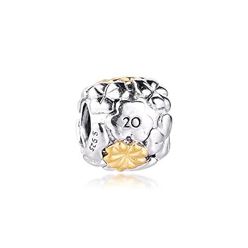 LIIHVYI Pandora Charms para Mujeres Cuentas Plata De Ley 925 Trébol De Cuatro Hojas Hand Limited Edition Compatible con Pulseras Europeos Collars