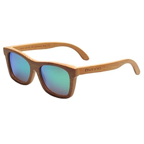 Iwood Handcrafted Moda de bambú carbonizado Marcos Verde polarizado Lente de Las Gafas de Sol de Madera