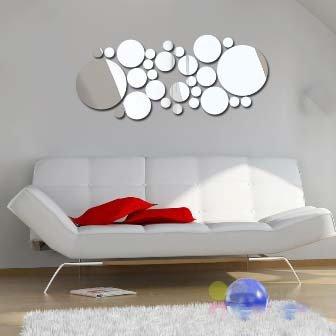 DCY Accessoires de Maison Amovible à la Mode en Trois Dimensions, en Plus de Miroir Stickers muraux 30 Rond