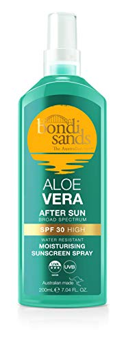 Bondi Sands Aloe Vera After Sun Lotion Spray SPF 30   Broad-Spectrum Cooling Formula Protects, Soothes, and Hydrates Skin, Water-Resistant Up To 4 Hours, Vegan + Cruelty Free   200 mL/6.76 Oz