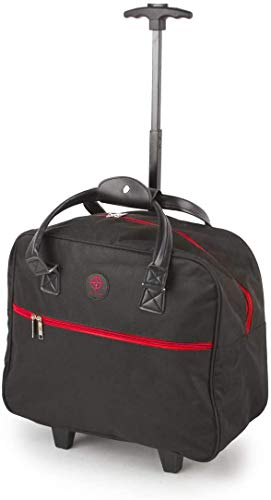 Lightweight Shopping Tote Bag on Wheels, Shopping Trolley, Travel Bag, Overnight Case (Black & Red)