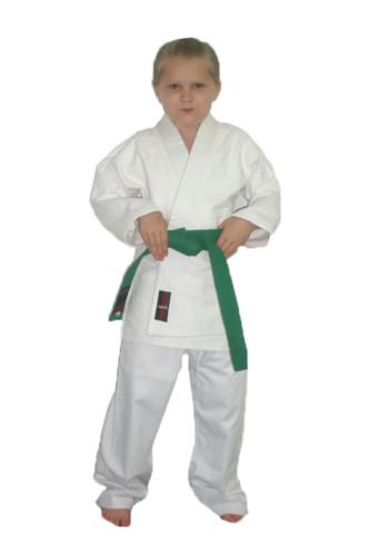 V.Sports Kinder Weiß Karateanzug Poly/Baumwolle Kinder Karate Uniformen (2/150 cm, 146–152)