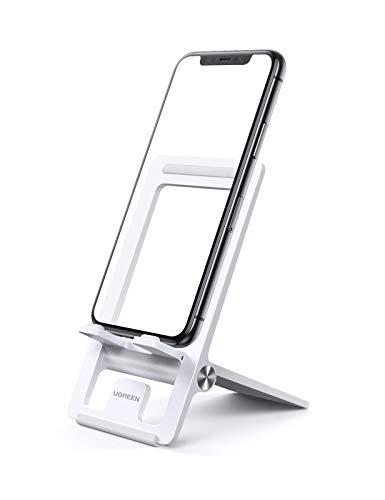 UGREEN Handy Ständer Verstellbar Faltbar Phone Stand Tisch Handyhalterung Smartphone Ständer kompatibel mit iPhone 11 Pro Max XR XS, Galaxy S20 S10 A50, Huawei P30 Pro usw. bis 7,2 Zoll (Weiß)
