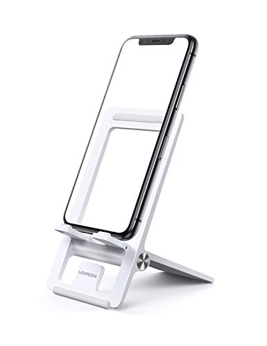 UGREEN Soporte Movil Mesa, Soporte Smartphones Universal Plegable para 4.7-7.9 iPhone XS MAX, XR, 8, Huawei P20 Lite, Mate 20 Lite, Samsung Note 9, S10, Galaxy M20, Xiaomi Redmi Note 9, Mi A2 (Blanco)