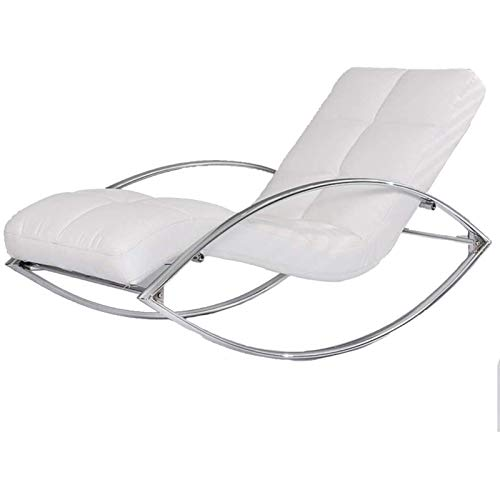 SHUILV Single Leather Sofa Rocking Chair, Metal Lazy Sofa Lounge Terrace Recliner Armchair (Color : Multiple Colors Available) (Color : White)