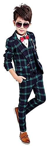 Traje de 4 Piezas comprobado, Chaleco + Pantalones + Chaqueta de Traje + Corbata de Lazo (Color : 1, Size : XXXXL)