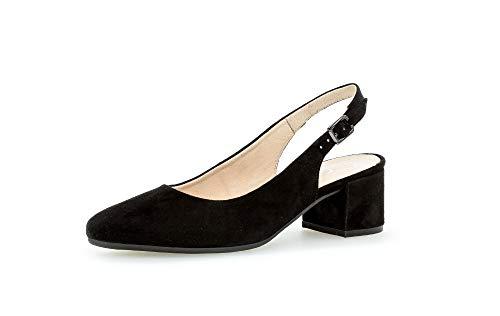 Gabor Damen Pumps, Frauen Sling-Pumps,Comfort-Mehrweite, knöchelriemchen Komfort weibliche Lady Ladies,schwarz (Samtchev),38.5 EU / 5.5 UK