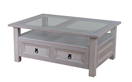 Dynamic24 Couchtisch New Mexico grau Kiefer massiv Mexiko Wohnzimmer Tisch Beistelltisch