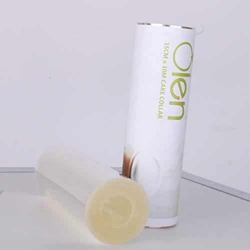 Collar transparente para tartas, 15 cm x 10 m, hojas de acetato transparente, rollo de acetato para decoración de tartas, para hornear, pasteles de chocolate