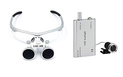Lupa De Cristal Óptico Binocular Loupes 3.5x420 mm quirúrgico Dental con gratuito lámpara de cabeza LED por Athenadental