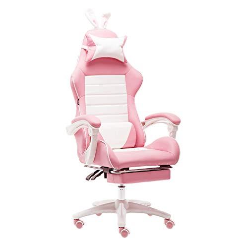 DFLY Heim Gaming Stuhl Bürostuhl, Billige Ergonomische Leder Computertische Stühle, Bequemer Höhenverstellbarer Drehstuhl Mit Armlehnen,Rosa,with footrest