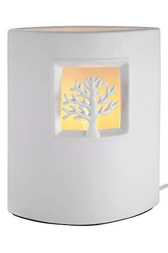 GILDE Lampe Ellipse Baum - Tischlampe aus Porzellan in weiß H 25 cm