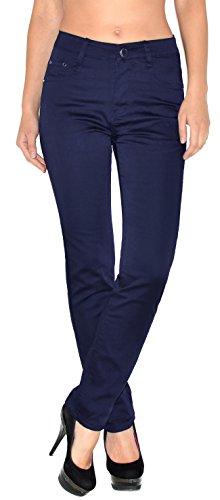 ESRA Damen Hose Straight Leg Hose High-Waist Damen Regular Stretch Stoffhose bis Übergröße T101