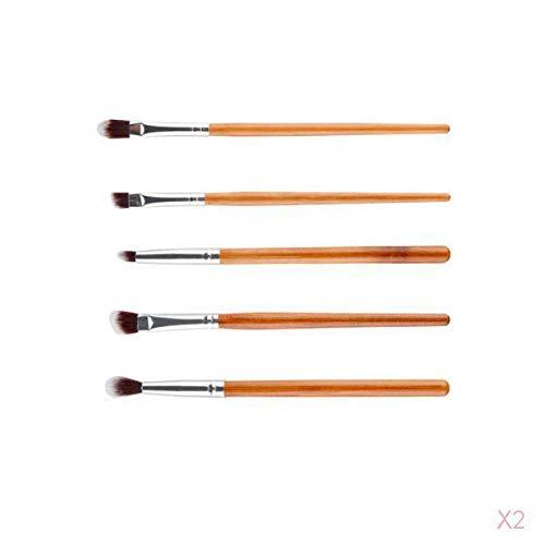 SM SunniMix 5pcs Poignée En Bambou Kit De Démarrage De L'oeil Brosses Pli/Fard à Paupières/Eyeliner Maquillage