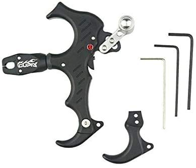 UUS 360 Degree Rotate Clamp Compound Bow Release Aids 3 or 4 Fingers Grip Thumb Caliper Trigger for Left/Right Hand