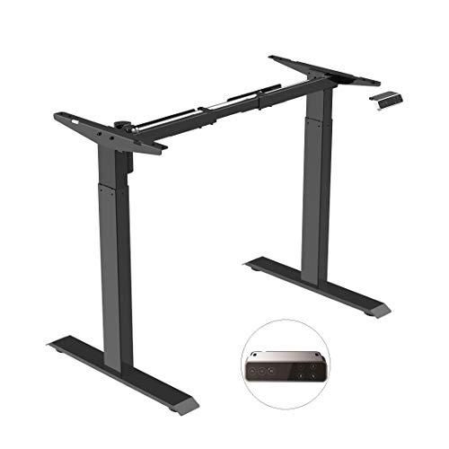 SANODESK EZ1- elektrisch stufenlos höhenverstellbarer Schreibtisch mit Kollisionschutz, Memory-Steuerung und Softstart/Stop Funktion (Schwarz)