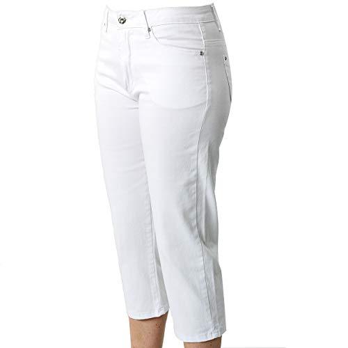 Damen Capri Jeans Melody White Weiß Berufsbekleidung Sommerjeans (44) Stretch Hose Beruf Freizeit Krankenschwester Arzt