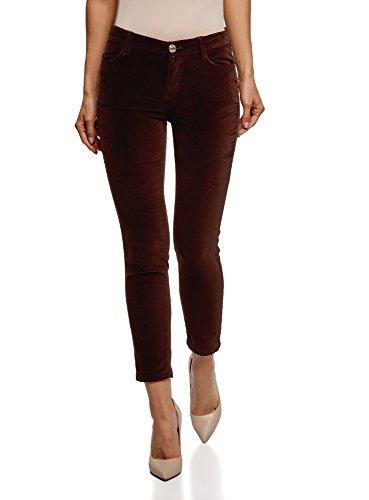 oodji Ultra Mujer Pantalones Ajustados de Tejido de Terciopelo, Marrón, ES 36 / XS