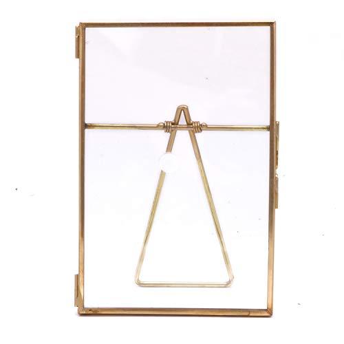 POFET Gold Metall schwimmender gepresster Glas Bilderrahmen mit Metall Staffelei, Foto-Display für Schreibtisch 10,2x15,3 cm / 6