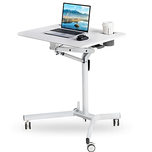 Height Adjustable Mobile Desk Sit to Stand Table, Rolling Portable Standing Pneumatic Laptop Desks with Gas Spring Riser, Overbed Table with Wheels Office Home Computer Workstation, Ergonomic, White