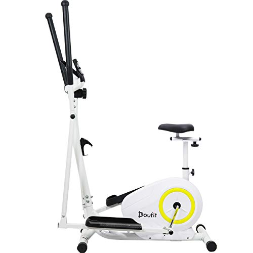 Doufit Elliptical Machine for Home Use, Eliptical Exercise Machine for Indoor Fitness Gym Workout, Adjustable Magnetic Elliptical Cross Trainer with LCD Monitor and Pulse Sensors (with Seat)