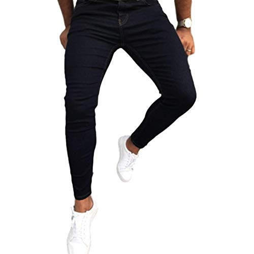 Men's Jeans Fall Fashion Mid-Waist Solid Color Casual and Comfortable Hip-hop Street Wear Trendy Washed Denim Trousers 32 Black