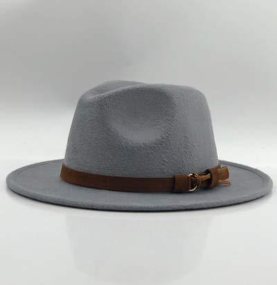Sombrero Fedora para Mujer y Hombre con Cinta de Cuero Caballero Elegante Dama Invierno Otoño Sombrero de ala Ancha Jazz-gray2-2-58-61CM