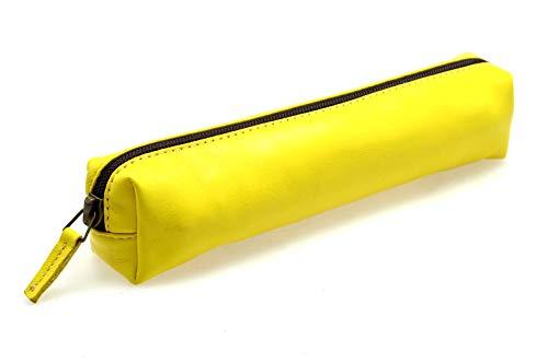 CANYON SRLS Astuccio portapenne borsello in vera pelle, made in italy - Colore Giallo