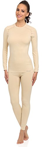 Merry Style Damen Funktionsunterwäsche Set Lange Unterhose Plus Langarm Shirt thermoaktiv 06 110 120 (Beige, L/XL)
