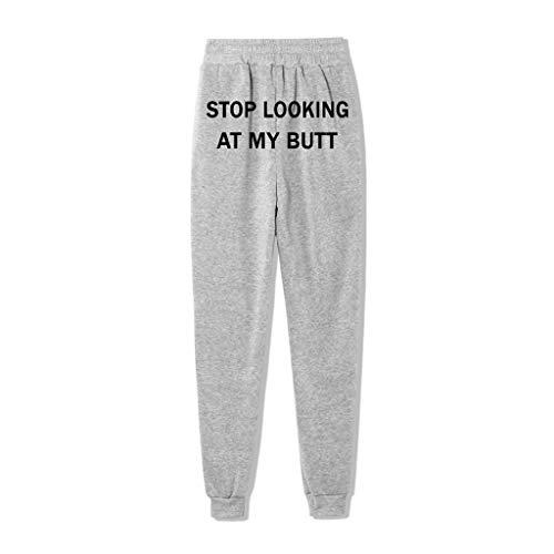 Stop Looking AT MY Butt Pantalones Deportivos para Mujer Pantalones de Largos Primavera Verano Pantalón de Chándal con Bolsilpara Gimnasio Deportes Correr Entrenamiento Jogging